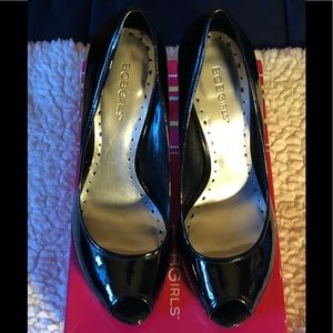 BCBG Black Patent Leather Peep-Toe Heels.